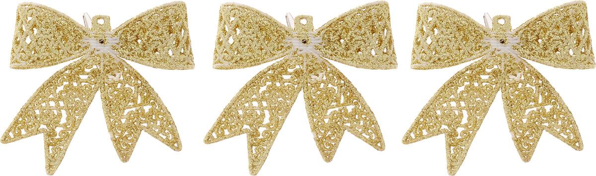 Набор новогодних подвесных украшений Winter Wings Бантики, цвет: золотистый, 3 штN181719_золотистыйНабор Winter Wings Бантики состоит из 3 подвесных украшений, выполненных из пластика. Оригинальные новогодние украшения прекрасно подойдут для праздничного декора дома и новогодней ели. С помощью специального отверстия или застежки-крокодильчика их можно повесить в любом понравившемся вам месте. Но, конечно, удачнее всего такие игрушки будут смотреться на праздничной елке. Елочная игрушка - символ Нового года и Рождества. Она несет в себе волшебство и красоту праздника. Создайте в своем доме атмосферу веселья и радости, украшая новогоднюю елку нарядными игрушками, которые будут из года в год накапливать теплоту воспоминаний.