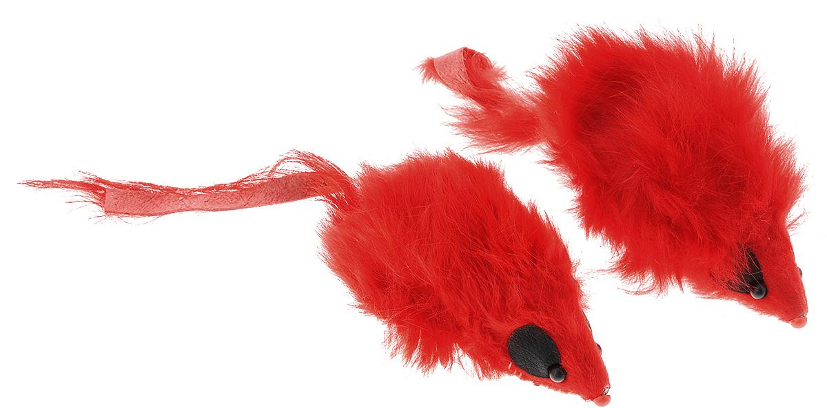 """Игрушка для кошек Triol """"Мышь"""", цвет: красный, 2 шт Ч-08100_красный"""