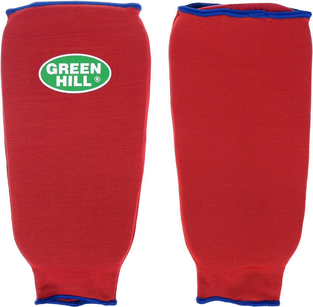 Защита голени Green Hill, цвет: красный, синий. Размер L. SPC-6210SPC-6210Защита голени Green Hill с наполнителем, выполненным из вспененного полимера, необходима при занятиях спортом для защиты суставов от вывихов, ушибов и прочих повреждений. Накладки выполнены из высококачественного эластана и хлопка. Длина голени: 28 см. Ширина голени: 16 см.