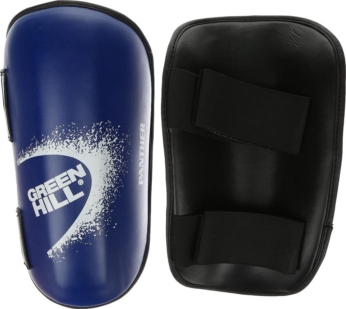 Защита голени Green Hill Panther, цвет: синий, белый. Размер M. SPP-2123G-2123-M/SPP-2124Защита голени Green Hill Panther с наполнителем, выполненным из вспененного полимера, необходима при занятиях спортом для защиты суставов от вывихов, ушибов и прочих повреждений. Накладки выполнены из высококачественной искусственной кожи. Закрепляются на ноге при помощи эластичных лент и липучек. Длина голени: 32 см. Ширина голени: 16,5 см.