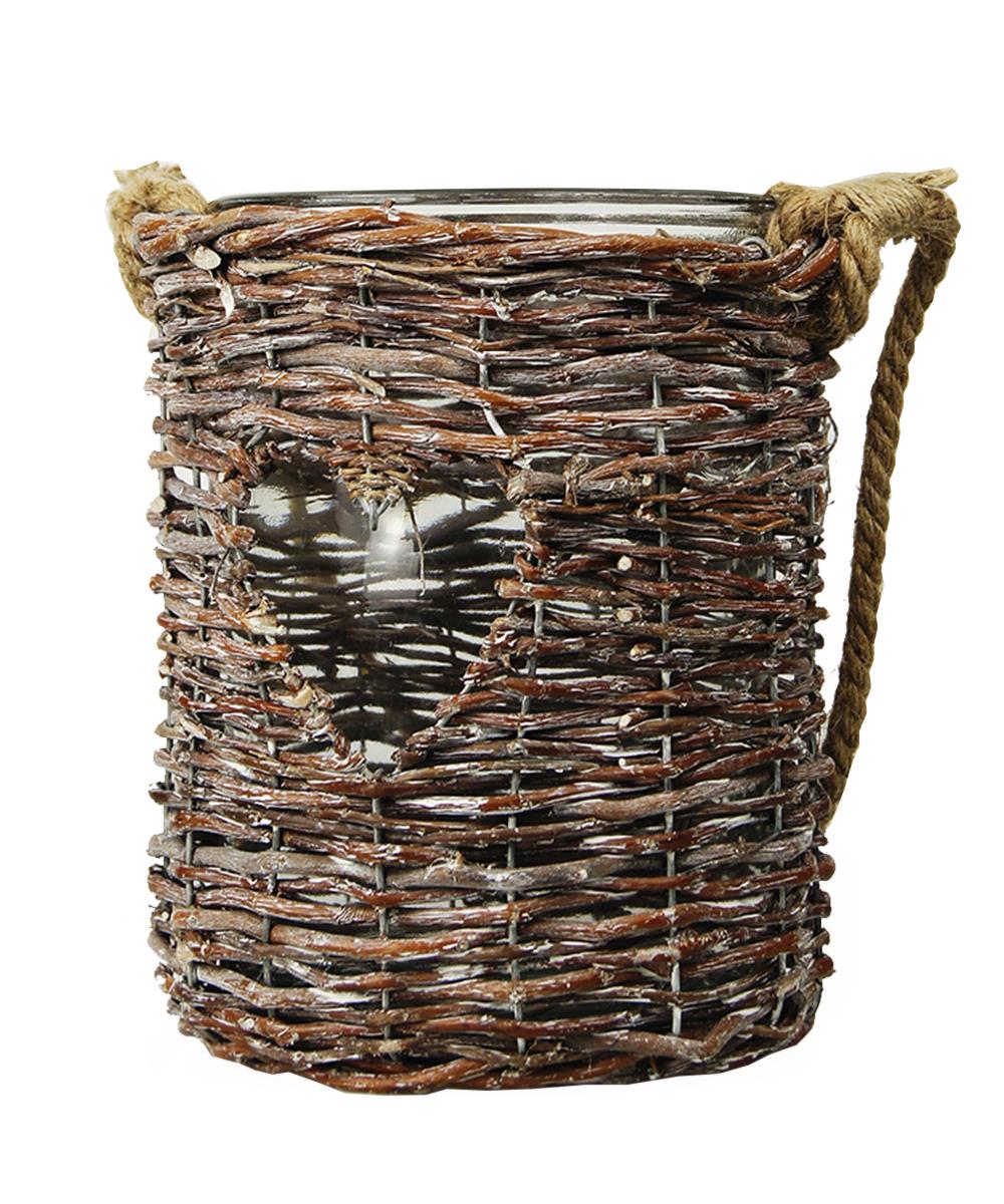 Ваза Этажерка Love, плетеная, с ручкой, цвет: коричневый, высота 23 смRH0979Плетеная ваза Этажерка Love, выполненная из высококачественного стекла и дерева (ивы), имеет изысканный внешний вид. Такая ваза станет идеальным украшением интерьера и прекрасным подарком к любому случаю. Изделие оснащено текстильной ручкой. Высота вазы: 23 см.