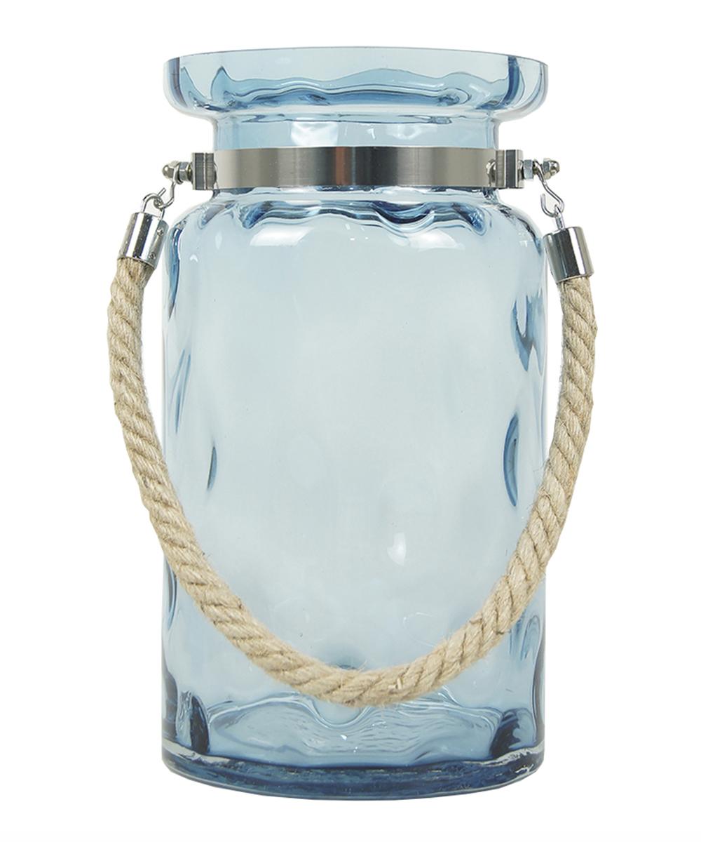 Ваза Этажерка Aqua, с ручкой, цвет: голубой, серый, высота 28 смT052-3Ваза Этажерка Aqua выполнена из высококачественного стекла и имеет изысканный внешний вид. Такая ваза станет идеальным украшением интерьера и прекрасным подарком к любому случаю. Изделие оснащено текстильной ручкой. Высота вазы: 28 см.