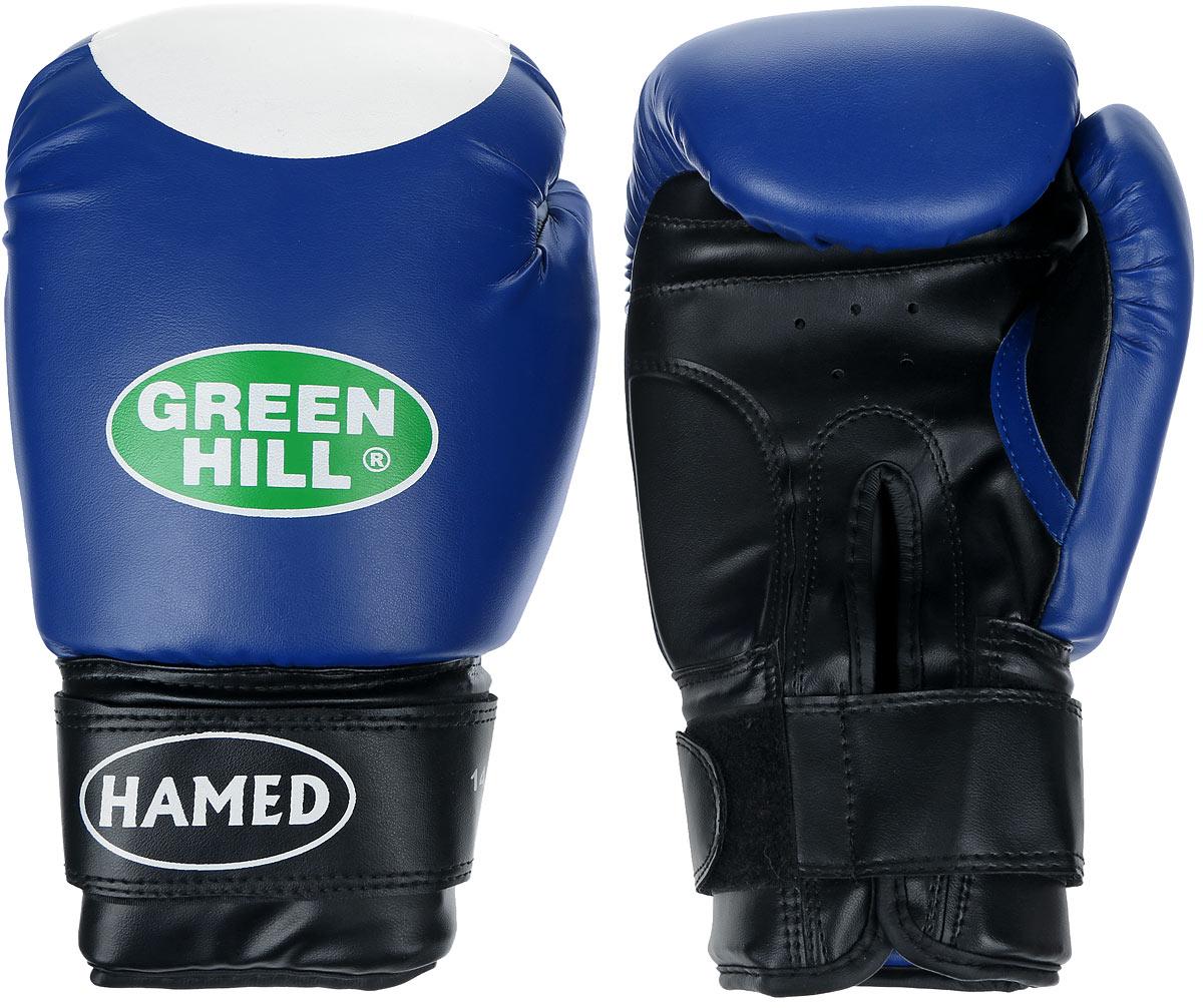 Перчатки боксерские Green Hill Hamed, цвет: синий, белый. Вес 14 унцийG-2036214Боксерские перчатки Green Hill Hamed прекрасно подойдут для прогрессирующих спортсменов. Верх выполнен из искусственной кожи, наполнитель - из пенополиуретана. Перфорированная поверхность в области ладони позволяет создать максимально комфортный терморежим во время занятий. Широкий ремень, охватывая запястье, полностью оборачивается вокруг манжеты, благодаря чему создается дополнительная защита лучезапястного сустава от травмирования. Перчатки прекрасно сидят на руке. Застежка на липучке способствует быстрому и удобному надеванию перчаток, плотно фиксирует перчатки на руке.