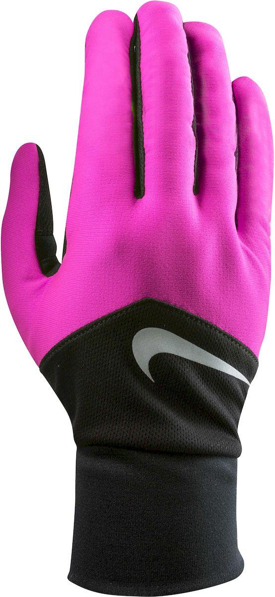 Перчатки для бега женские Nike Dri-Fit Tempo, цвет: розовый, черный, серебристый. Размер MN.RG.E5.619.MD- Материал с технологией Dri-FIT обеспечивает быстрое впитывание влаги и ее испарение, что позволяет оставаться коже сухой. - Сетчатые вставки с Dri-Fit эффектом обеспечивают оптимальную воздухопроницаемость. - Кончик указательного и большого пальца выполнены из материала совместимого с сенсорным дисплеем. - Эргономичная форма, повторяющая очертания руки в расслабленном состоянии. - Силиконовые вставки на внутренней части перчаток повышают сцепление. - Светоотражающий логотип обеспечивает визуальную узнаваемость бренда и повышает видимость при слабом освещении.