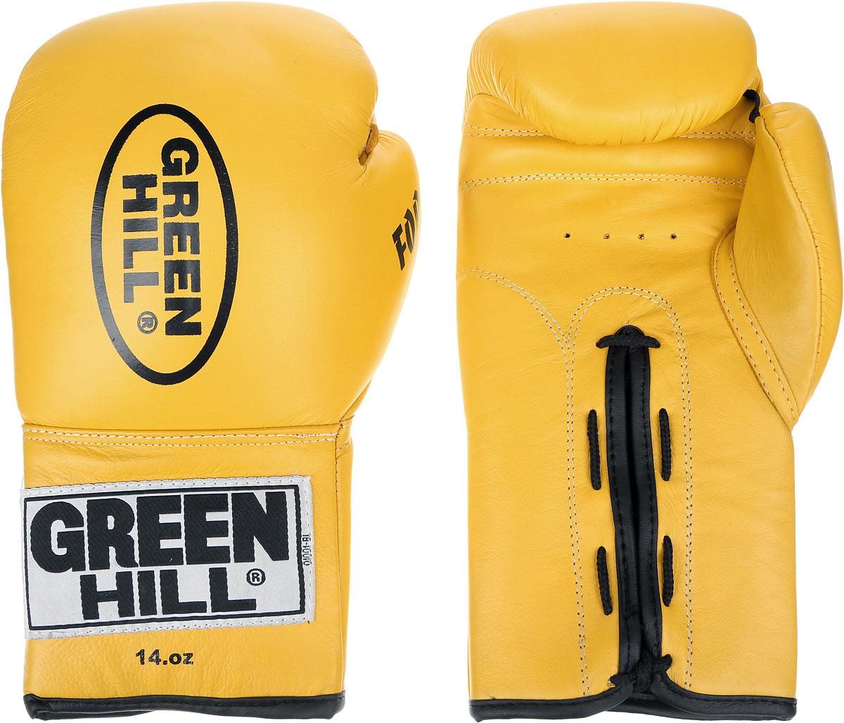 Перчатки боксерские Green Hill Force, цвет: желтый, черный. Вес 14 унций. BGF-1215BGF-1215Боксерские перчатки Green Hill Force предназначены для использования профессионалами и любителями. Верх выполнен из натуральной кожи, наполнитель - из вспененного полимера. Отверстия в области ладони позволяет создать максимально комфортный терморежим во время занятий. Манжет на шнуровке способствует быстрому и удобному надеванию перчаток, плотно фиксирует перчатки на руке.