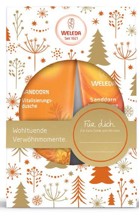 Weleda Подарочный набор Сочная облепиха: Облепиховыйтонизирующий гель для душа 200 мл и Облепиховый питательный крем для рук 50 мл