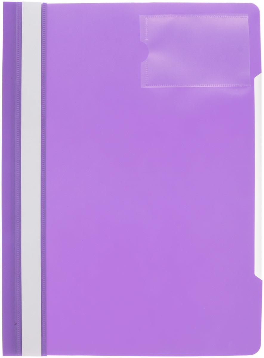Бюрократ Папка-скоросшиватель с карманом под визитку цвет фиолетовый