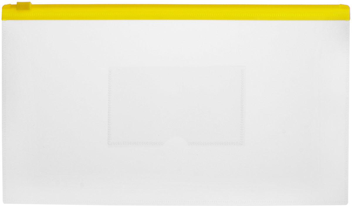 Бюрократ Папка на молнии с карманом под визитку цвет желтый816740_желтыйКомпактная папка Бюрократ - это удобный и практичный офисный инструмент, предназначенный для хранения и транспортировки рабочих бумаг и документов формата 26,5 см х 15 см. Папка изготовлена из прозрачного пластика, закрывается на пластиковую застежку-молнию, имеет опрятный и неброский вид. На внешней поверхности папки расположен кармашек для визитки. Папка - это незаменимый атрибут для студента, школьника или офисного работника. Такая папка надежно сохранит ваши документы и сбережет их от повреждений, пыли и влаги.