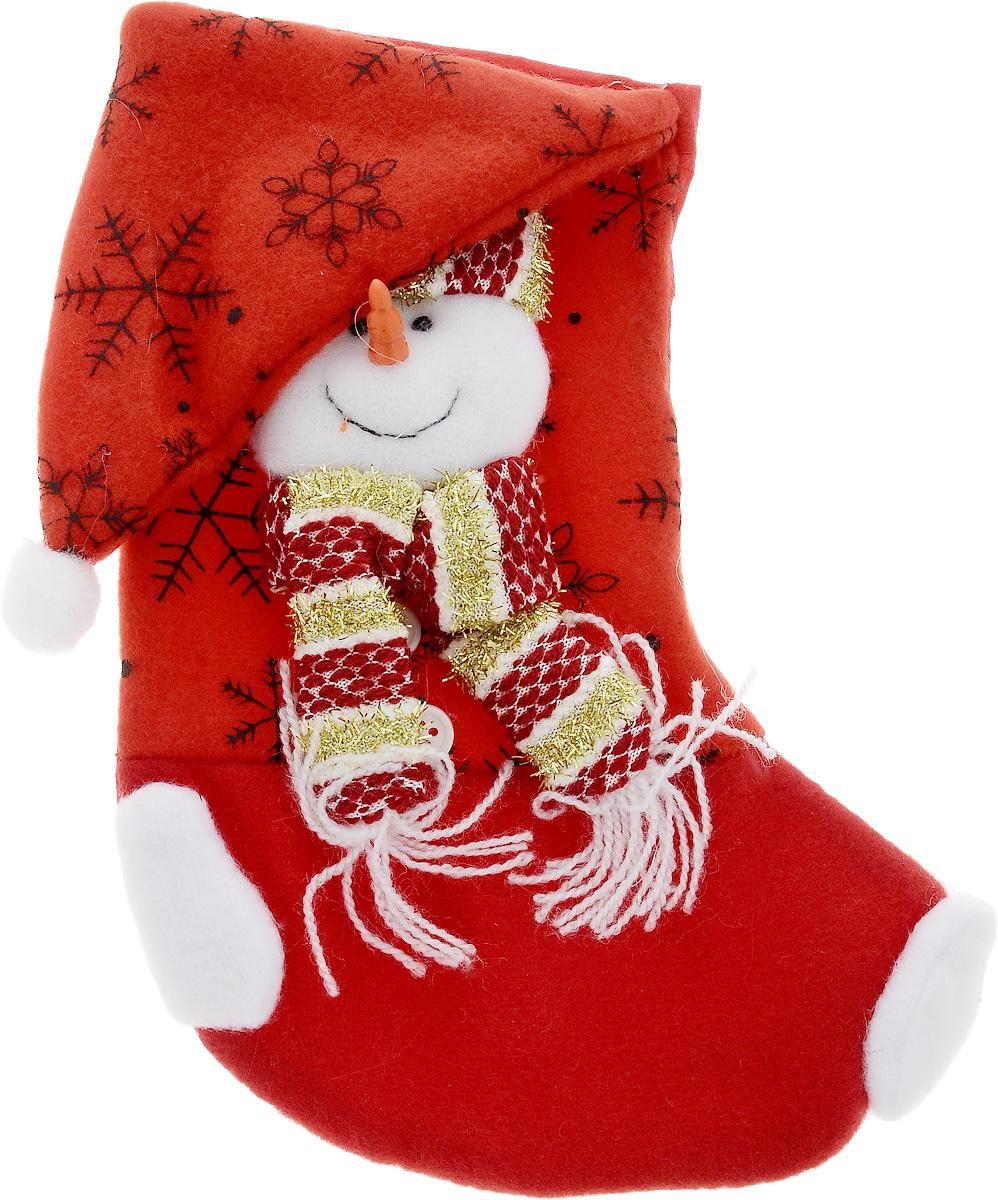 Мешок для подарков Феникс-Презент Носок. Снеговик, 20 x 11 см42514Новогодний мешочек Феникс-Презент Носок. Снеговик, выполненный из полиэстера, декорирован аппликацией снеговика. Этот праздничный аксессуар предназначен специально для новогодних и рождественских подарков. С помощью петельки его можно подвесить в любое понравившееся место. Традиция класть подарки в новогодние чулки (в Европе эти же чулки называются рождественскими) появилась в нашей стране относительно недавно, но уже пользуется популярностью. Чулки, как и другие новогодние украшения, создают в доме атмосферу тепла и уюта, сближая всю семью. Особенно эта традиция приводит в восторг детей. Да и взрослому будет не менее интересно получить подарок в такой оригинальной упаковке.