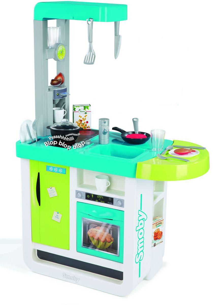 Smoby Игрушечная кухня Cherry310900Дети очень любят имитировать действия взрослых, поэтому игрушечная кухня Smoby Cherry станет одной из самых увлекательных игрушек как для девочек, так и для мальчиков. Интерактивная кухня включает плиту с двумя горелками и кнопками управления, холодильник, духовку с открывающейся дверью, раковину с краном, кофеварку, полки для аксессуаров. Также в комплекте 25 съемных аксессуаров для готовки (кастрюли, сковородки, чашки, тарелки, столовые приборы, кофейные капсулы и различные продукты). Благодаря аксессуарам ваш малыш сможет приготовить большое и красивое блюдо. Кухня оснащена современной электроникой, которая позволяет имитировать звуки приготовления пищи. При установке посуды на плиту ребенок услышит, как жарится мясо или рыба. Для работы игрушки требуется 1 батарейка напряжением 1,5V типа CR2032 (входит в комплект).