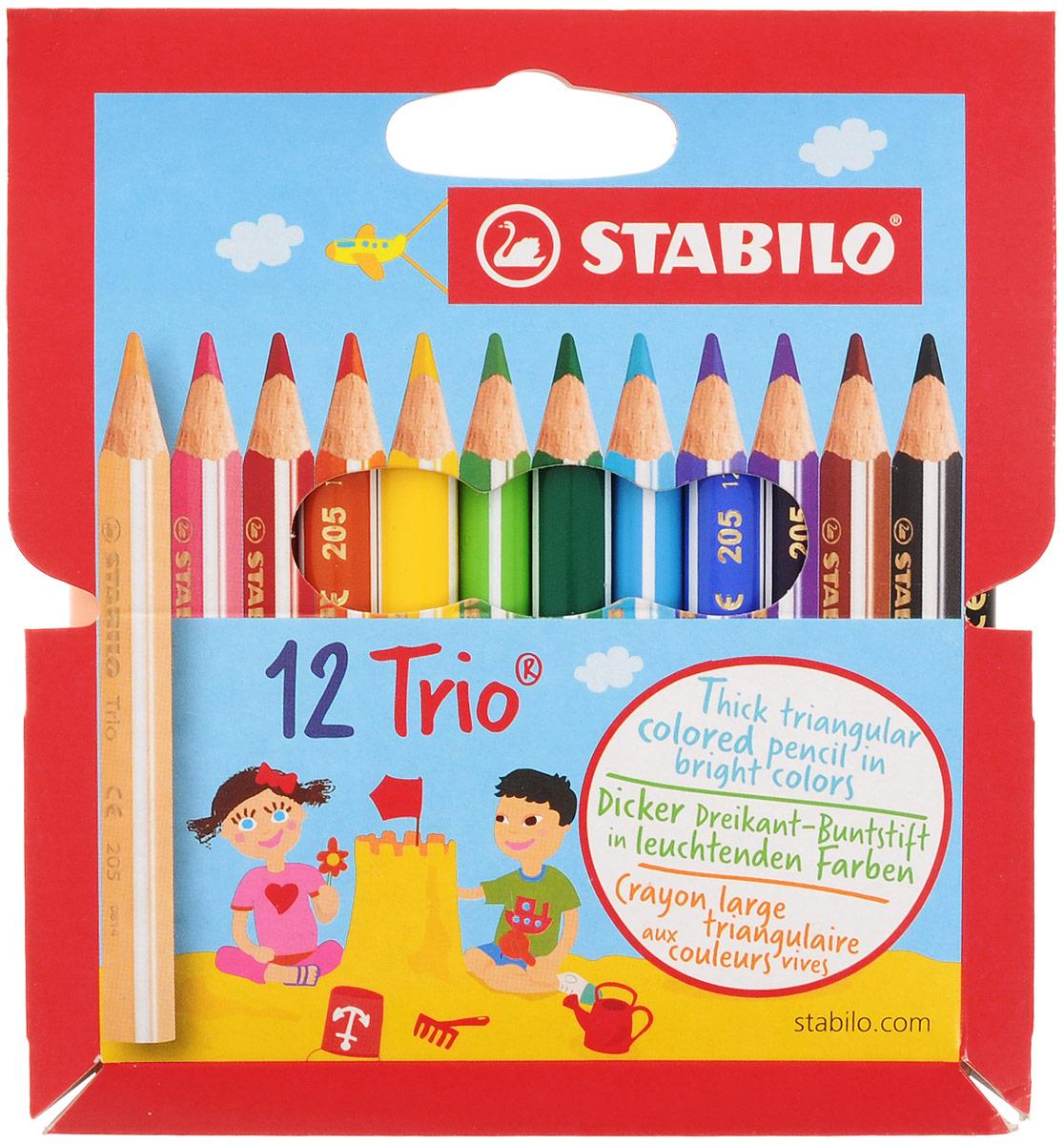 Stabilo Набор цветных карандашей Trio 12 цветов205/12-01_новый дизайнНабор Stabilo Trio из 12 укороченных карандашей разного цвета подходит для самых маленьких детей, которые только начинают рисовать. Трехгранная форма карандаша предотвращает усталость детской руки при рисовании и позволяет привить ребенку навык правильно держать пишущий инструмент. Подходят для правшей и для левшей. Утолщенный эргономичный грифель, устойчивый к поломкам.