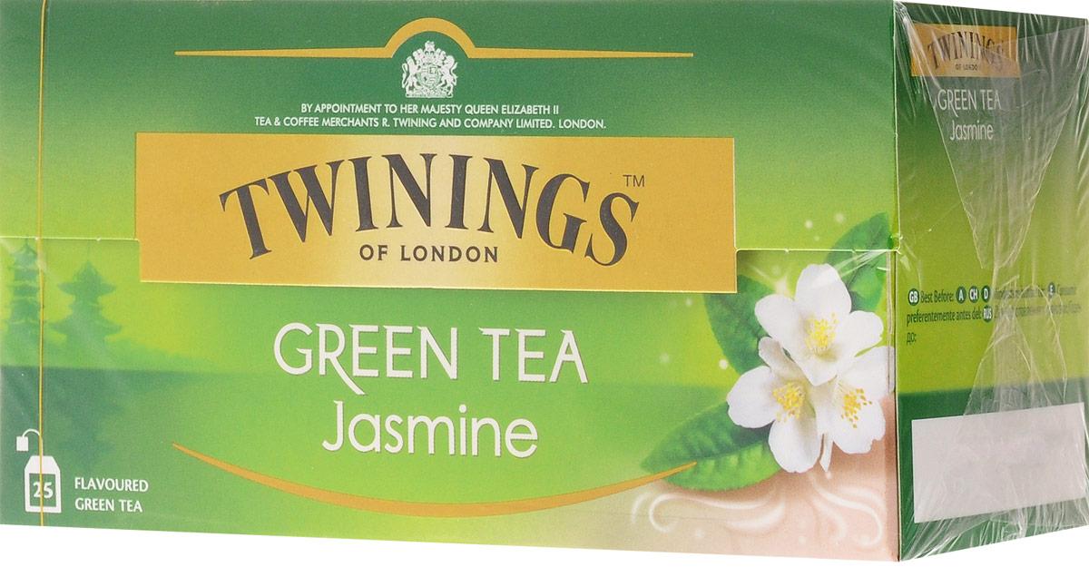 Twinings Green Tea & Jasmine зелёный чай с цветами жасмина в пакетиках, 25 шт free shipping 2015 yr new tea premium jasmine pearl tea jasmine longzhu flower tea green tea 250g bag vacuum packaging