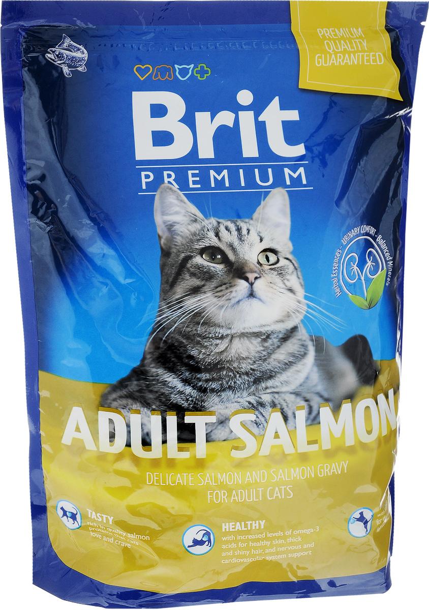 Корм сухой Brit Premium для взрослых кошек, с лососем, 1,5 кг110312Полноценный сбалансированный корм Brit Premium подходит для взрослых кошек всех пород. Корм изготовлен на основе лосося. Не содержит пшеницу. Легко переваривается и усваивается. Товар сертифицирован.