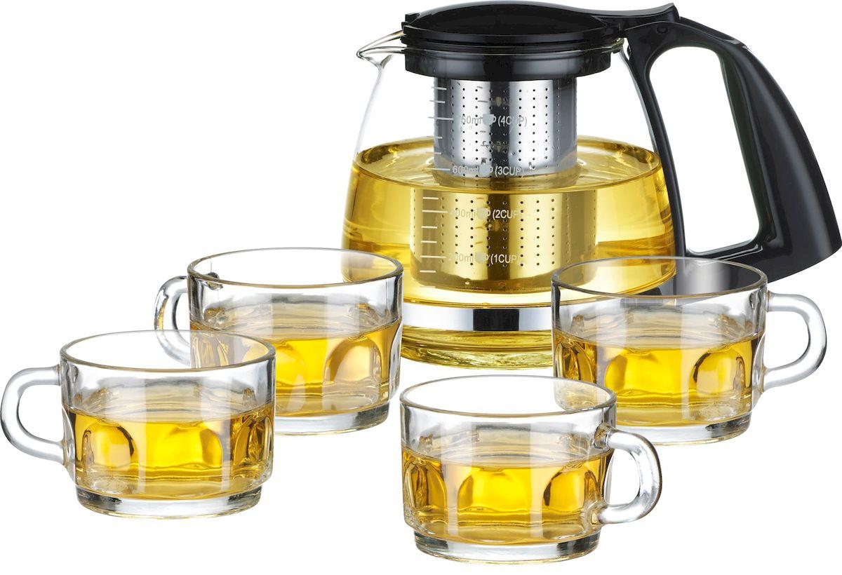 Набор чайный Calve: чайник, 0,75 л, 4 чашки, 150 млCL-7007Стеклянный чайник 750 мл Стеклянная чашка 150 мл - 4 шт. Элегантный и практичный дизайн Идеально подходит для заваривания чая и трав Высококачественное жаростойкое стекло Разборная конструкция для удобства ухода Пластиковые части корпуса из пищевого пластика Фильтр из нержавеющей стали удерживает чаинки от попадания в чашки Жаропрочность стекла до 100° Советы по уходу и использованию: Чайник не предназначен для нагрева на плите или на открытом огне Не рекомендуется мыть чайник в посудомоечной машине Если на стекле появились трещины, прекратите использование чайника Не ставьте горячий чайник на холодную поверхность, используйте подставку под горячее