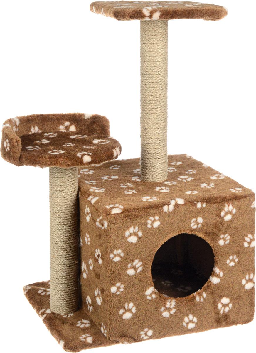 Игровой комплекс для кошек Меридиан, с домиком и когтеточкой, цвет: темно-коричневый, бежевый, 35 х 45 х 75 смД130 Ла_темно-коричневый, бежевыйИгровой комплекс для кошек Меридиан выполнен из высококачественного ДВП и ДСП и обтянут искусственным мехом. Изделие предназначено для кошек. Ваш домашний питомец будет с удовольствием точить когти о специальные столбики, изготовленные из джута. А отдохнуть он сможет либо на полках разной высоты, либо в расположенном внизу домике. Общий размер: 35 х 45 х 75 см. Размер домика: 46 х 37 х 33 см. Высота полок (от пола): 74 см, 45 см. Размер полок: 27 х 27 см, 26 х 26 см.