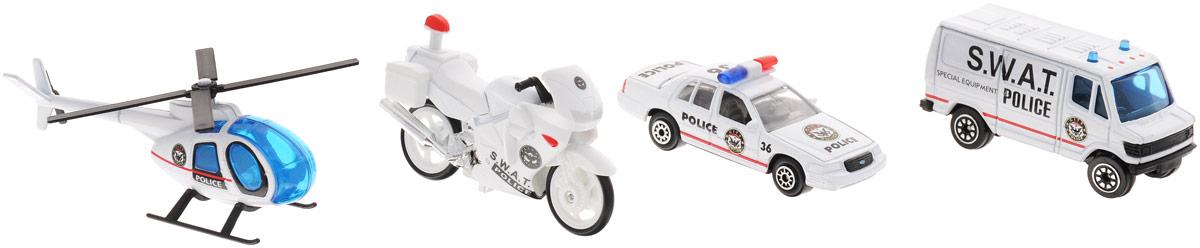 Welly Игровой набор Служба спасения: Полиция, 4 предмета98630-4AИгровой набор Welly Служба спасения: Полиция представляет собой 4 реалистичные модели, выполненные в виде точных копий полицейской техники. Набор включает в себя вертолет, мотоцикл и 2 разные машинки. Модели отличаются высоким качеством исполнения и детализации. Корпус моделей выполнен из металла, стекла изготовлены из прочного прозрачного пластика. Колесики машинок, мотоцикла и лопасти вертолета вращаются. Ваш ребенок часами будет играть с набором, придумывая различные истории. Порадуйте его таким замечательным подарком!