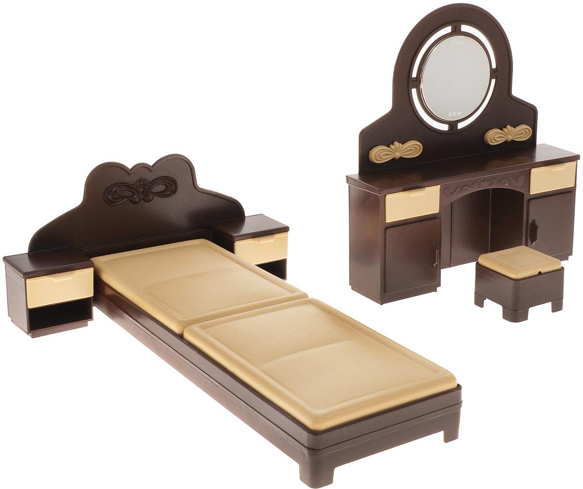 Огонек Набор мебели для кукол Спальня КоллекцияОГ1303Набор мебели для спальни куклы Коллекция - это стильный мебельный гарнитур для любимой куклы. Мебель станет прекрасным украшением кукольного домика. Миниатюрная кровать выглядит совсем как настоящая. В наборе с кроватью две прикроватные тумбы с выдвижными ящиками, трюмо и пуфик к нему. Трюмо оборудовано выдвижными ящиками и круглым безопасным зеркалом. Набор изготовлен из прочного безопасного пластика. Набор мебели дополнит и разнообразит игры вашей малышки с куклами. Порадуйте её таким замечательным подарком.