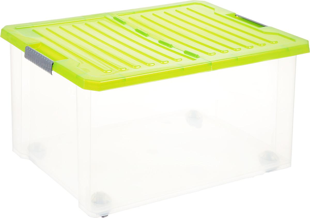 Ящик для хранения BranQ Unibox, на колесиках, цвет: зеленый, прозрачный, 57 лBQ2566ЗЛПРУниверсальный ящик для хранения BranQ Unibox, выполненный из прочного пластика, поможет правильно организовать пространство в доме и сэкономить место. В нем можно хранить все, что угодно: одежду, обувь, детские игрушки и многое другое. Прочный каркас ящика позволит хранить как легкие вещи, так и переносить собранный урожай овощей или фруктов. Изделие оснащено складной крышкой, которая защитит вещи от пыли, грязи и влаги. С помощью колесиков на дне изделия ящик легко перемещать по комнате. Эргономичные ручки-защелки, позволяют переносить ящик как с крышкой, так и без нее.