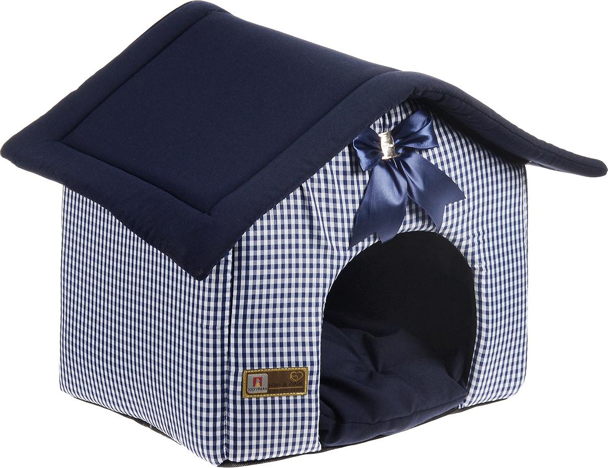 Лежак для собак и кошек Зоогурман Ампир, цвет: синий, 45 х 40 х 45 см1970Мягкий и уютный лежак Зоогурман Ампир обязательно понравится вашему питомцу. Лежак выполнен из плотного, приятного материала. Внутри - мягкий наполнитель, который не теряет своей формы долгое время. Лежак представляет собой домик, со съемной крышей и съемным внутренним матрасиком. Над главным входом красивый бант в тон основного цвета лежака. Закрытый лежак в виде домика обеспечит вашему любимцу уют и комфорт. За изделием легко ухаживать, можно стирать вручную или в стиральной машине при температуре 40°С. Материал: нейлоновые микроволоконные и шерстяные ткани. Наполнитель: гипоаллергенное синтетическое волокно. Наполнитель матрасика: шерсть.