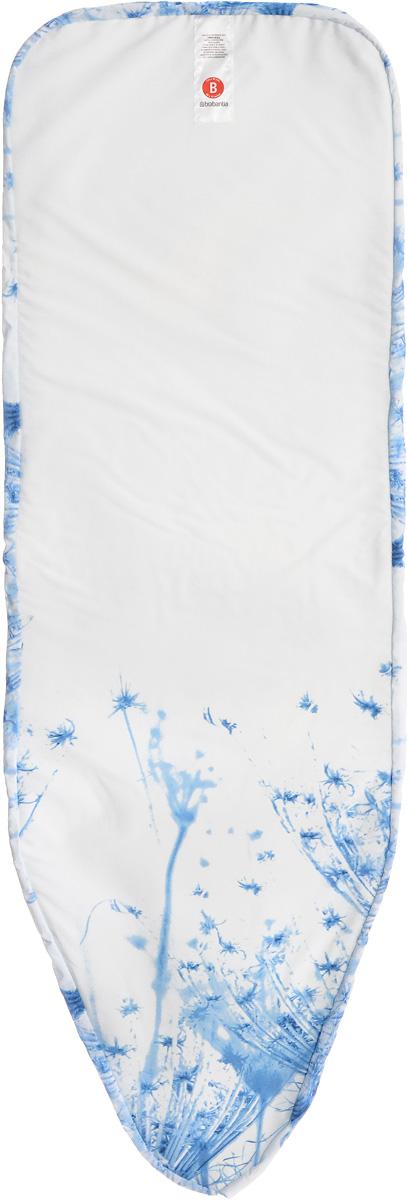 Чехол для гладильной доски Brabantia, с войлоком, цвет: голубой, белый, 124 х 38 см265006_голубой одуванчикЧехол для гладильной доски Brabantia с войлоком, подарит вашей доске новую жизнь и создаст идеальную поверхность для глажения и отпаривания белья. Изделие выполнено из натурального 100% хлопка с подкладкой из поролона (4 мм) и войлока (4 мм). Чехол разработан специально для гладильных досок Brabantia и подходит для большинства утюгов и паровых систем. Благодаря системе фиксации (эластичный шнурок с ключом для натяжения и резинка с крючками по центру) чехол легко крепится к гладильной доске, а поверхность всегда остается гладкой и натянутой.