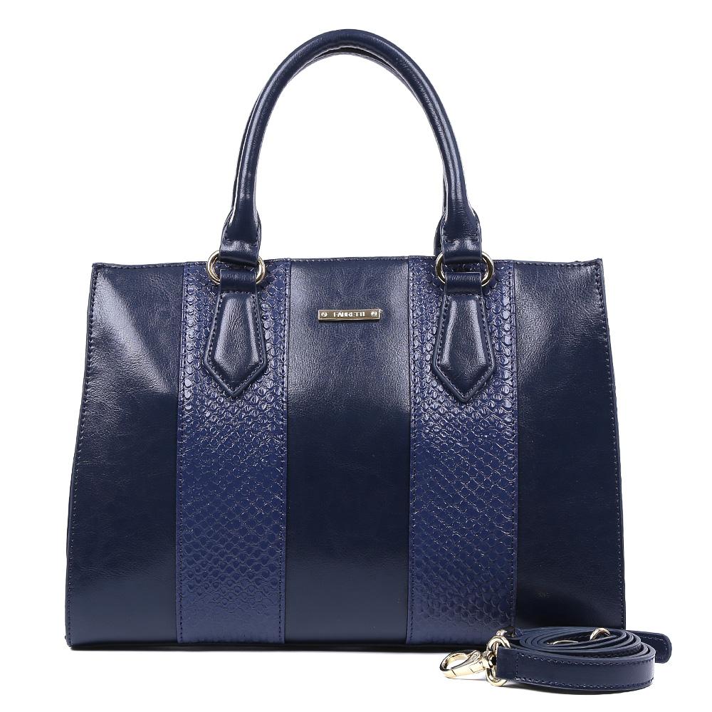 Сумка женская Fabretti, цвет: синий. CSN2952CSN2952-blueЯркая сумка от итальянского бренда Fabretti выполнена из натуральной кожи, которая имеет мягкую и нежную фактуру. Стильный темно-синий цвет модели, отделка под рептилию и фурнитура, выполненная в золоте, подойдут к любому современному образу. Классический аксессуар дополнит как деловой, так и повседневный стиль. Сумка имеет одно вместительное отделение на застежке-молнии, которое вмещает папки формата A4. Внутри: прорезной карман на молнии, накладной карман на молнии, два накладных кармана для телефона и прочих мелочей, один из которых содержит прорезной карман на застежке-молнии. На тыльной стороне изделия находится вместительный карман, который закрывается на стильную молнию с металлическим поводком. В комплект входит съемный ремешок, который регулируется по длине. Прилагается фирменный текстильный чехол для хранения.