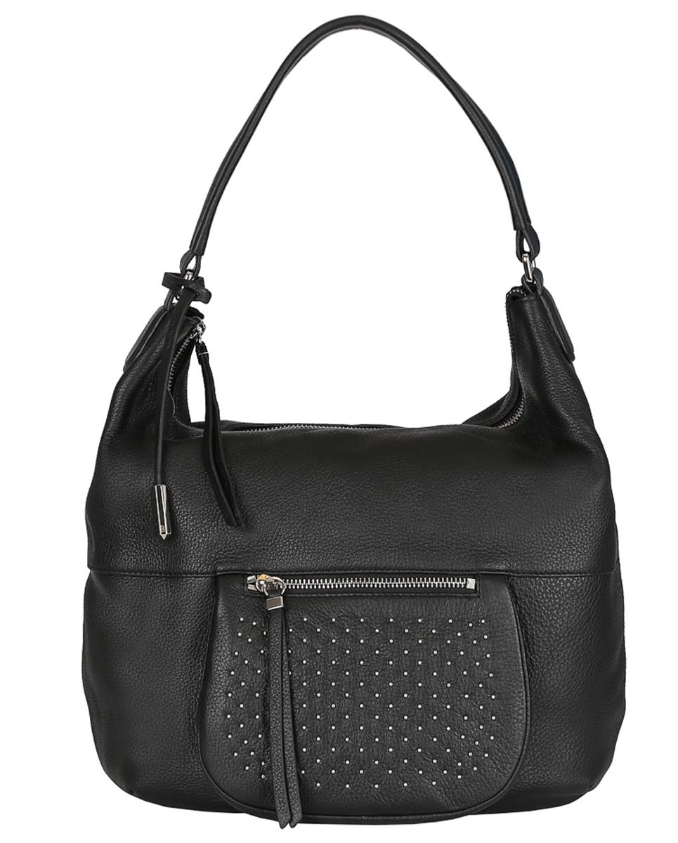 Сумка женская Fabretti, цвет: черный. F20017F20017-neroЖенская сумка Fabretti из натуральной кожи. Внутри: два отделения, разделенные большим карманом на пластиковой молнии. На боковых стенках расположены: один карман на пластиковой молнии и два открытых кармана для мелочей. Снаружи, на лицевой стороне, есть дополнительный карман, декорированный хольнитенами и закрывающийся на металлическую молнию. Молния на основном отделении так же выполнена из металла. Аксессуар не вмещает формат А4. Кожа мягкая, не держит форму. Фурнитура – серебро. Длина ручки подходит для ношения на плече.