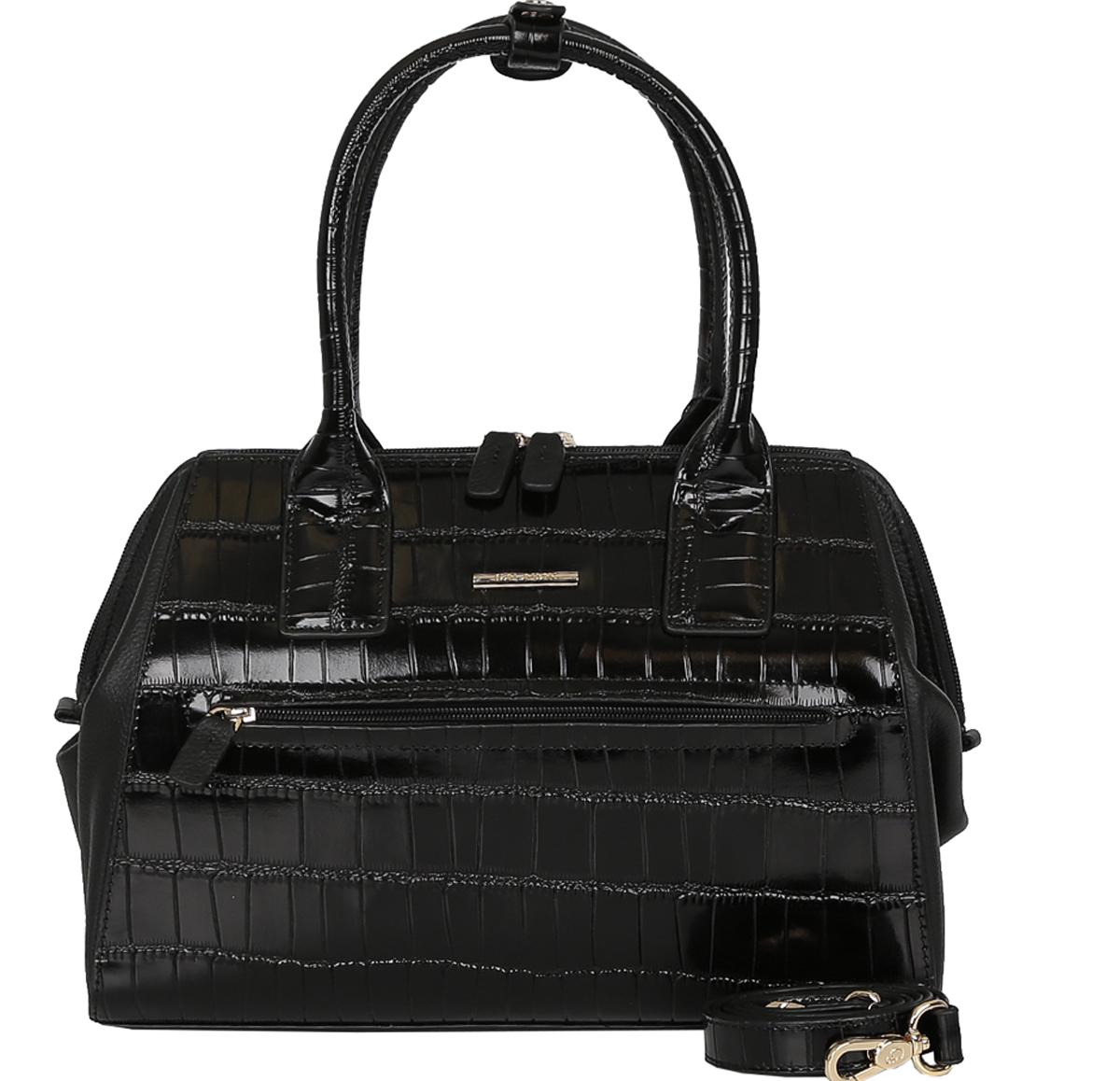 Сумка женская Galaday, цвет: черный. GD5731GD5731-blackЖенская сумка GALADAY из натуральной кожи. Внутри: одно отделение, на боковых стенках расположены два кармана на молнии и два кармана для мелочей. Сумка носится в руке, в комплектацию входит наплечный ремень Сумка закрывается на пластиковую молнию. Размеры не вмещают формат А4. Кожа плотная, форму держит. Аксессуар декорирован вставкой из кожи с тиснением под кожу рептилии. Фурнитура блестящее золото.. На дне сумки расположены металлические ножки, защищающие ее от механических повреждений.