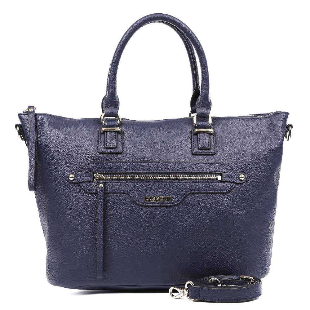 Сумка женская Fabretti, цвет: темно-синий. S1505S1505-blueЭлегантная сумка от итальянского бренда Fabretti выполнена из натуральной плотной кожи, которая держит форму и имеет мягкую фактуру. Элегантный и насыщенный темно-синий цвет, фурнитура, выполненная под золото и изящные длинные поводки, - такой дизайн дополнит любой современный образ. Сумка имеет одно вместительное отделение, которое разделено карманом на молнии. Внутри аксессуара вы с легкостью расположите свой сотовый телефон и другие женские мелочи с помощью удобных карманов. На передней и тыльной стороне модели дизайнеры разместили вместительные карманы, которые закрываются на стильные молнии с кожаными поводками. Сумка с легкостью вмещает формат A4.