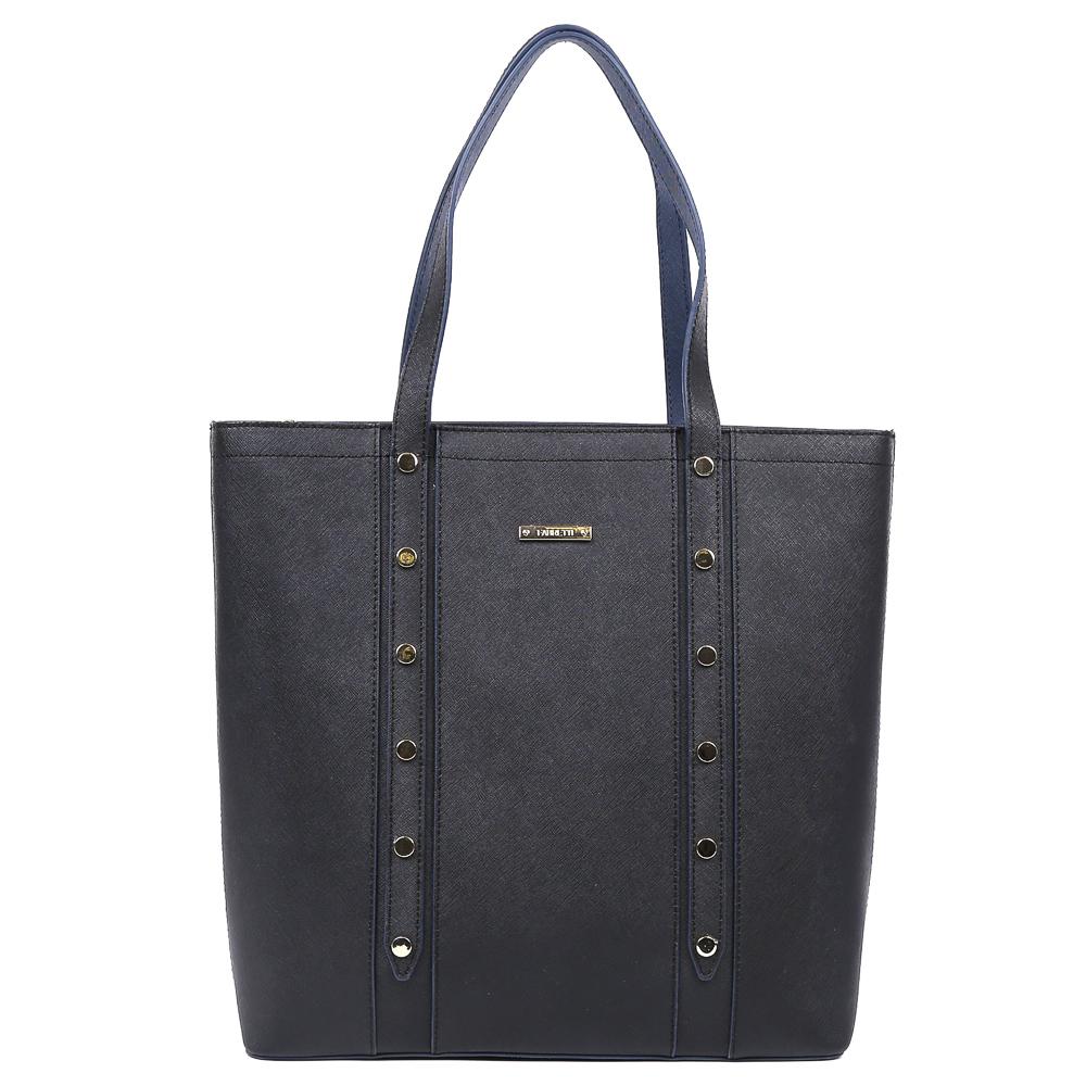 Сумка женская Fabretti, цвет: черный. YH318YH318-blackВместительная женская сумка от итальянского бренда Fabretti выполнена из натуральной сафьяновой кожи, которая имеет и мягкую фактуру и держит форму. Актуальный темно-синий цвет придает изделию неповторимую изысканность и элегантность. Фурнитура в золотом цвете, модная строчка и металлические поводки, - все это предназначено для тех, кто любит быть стильной и яркой в любой компании. Сумка имеет одно внутреннее отделение, куда вы с легкостью сможете уместить документы и папки формата А4. На внутренних боковых стенках дизайнеры разместили карманы для различных женских мелочей. На тыльной части сумки расположен удобный карман на молнии с длинным поводком в золотом цвете.