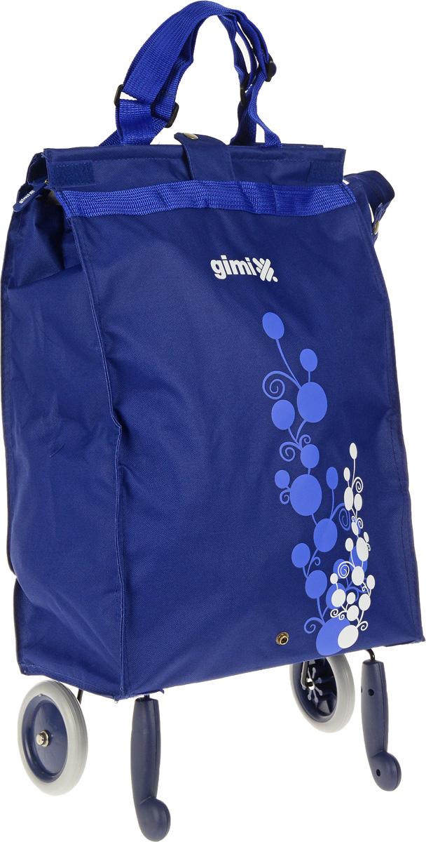 Сумка-тележка Gimi Bella, цвет: синий, 38 л1505460010001Хозяйственная сумка-тележка Gimi Bella выполнена из высококачественного полиэстера со стальным каркасом. Она оснащена 1 вместительным отделением, закрывающимся с помощью застежки-молнии. Сумка водоустойчива, оснащена 2 колесами, обеспечивающими удобство транспортировки. Для компактного хранения сумку можно сложить. Максимальная нагрузка: 15 кг.
