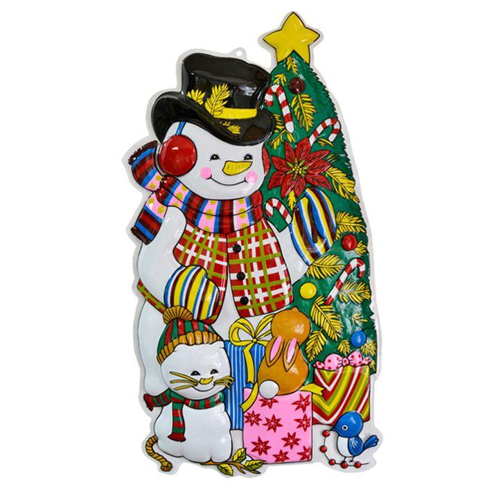 Панно Winter Wings Снеговик с елкой, 80 х 43 см. N09136N09136Панно СНЕГОВИК С ЕЛКОЙ, 80х43 см, ПВХ