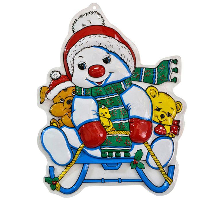 Панно Winter Wings Снеговик на санках, 46 х 36 см. N09152N09152Панно СНЕГОВИК НА САНКАХ, 46х36 см, ПВХ