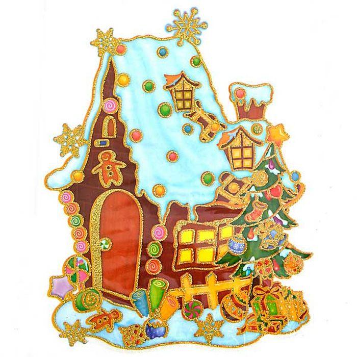 Наклейка-панно декоративная Winter Wings Домик с елкой, 20 х 26 см. N09215N09215Наклейка панно ДОМИК С ЕЛКОЙ, прозрачная цветная с блестящей крошкой, 20х26 см , ПВХ