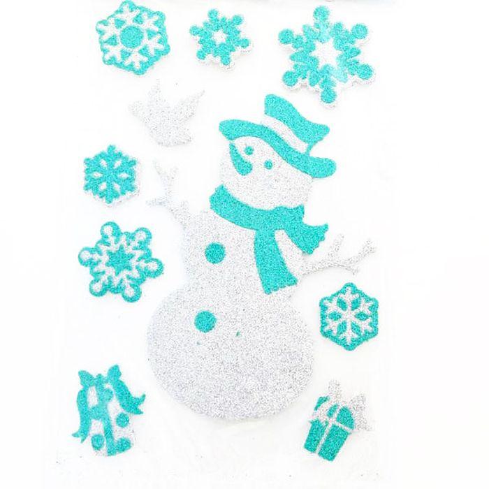 Наклейка-панно декоративная Winter Wings Снеговик, 20 х 30 см. N09223N09223Наклейка панно СНЕГОВИК, прозрачная цветная с блестящей крошкой, 20х30 см , ПВХ