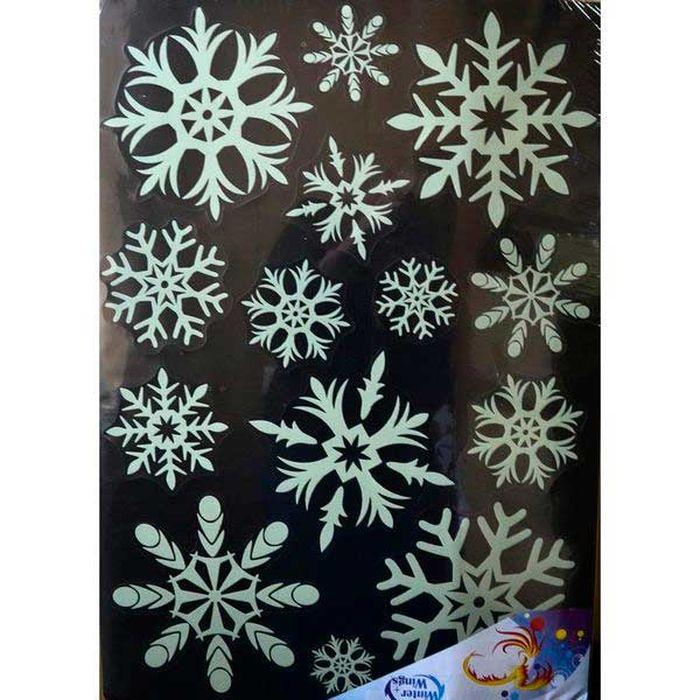 Наклейка-панно декоративная Winter Wings Снежинки, светящаяся, 49 х 69 см. N09230N09230Наклейка панно СНЕЖИНКИ, прозрачная цветная, светящаяся в темноте, 49х69 см