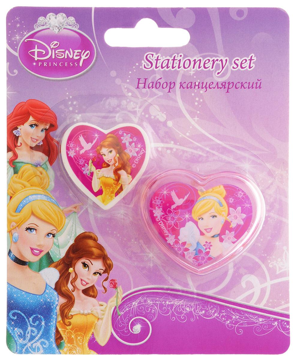 Disney Princess Канцелярский набор 2 предметаPRBB-US1-220-BLКанцелярский набор Disney Princess станет незаменимым атрибутом в учебе маленькой школьницы. Он включает в себя 2 предмета - ластик в форме сердечка с изображением принцессы Белль и точилку в форме сердечка с изображением Золушки.