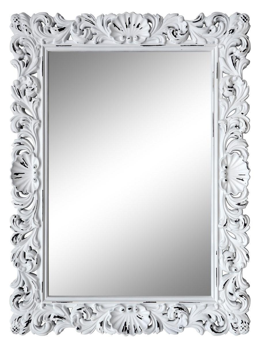 Зеркало VezzoLLi Рококо, цвет: белый, 117 х 87,5 см1-03Зеркало выкрашено в стиле Шебби Шик - с потертостями. Ручная работа. С обратной стороны зеркало снабжено тремя металлическими подвесами для возможности разместить его и вертикально и горизонтально.