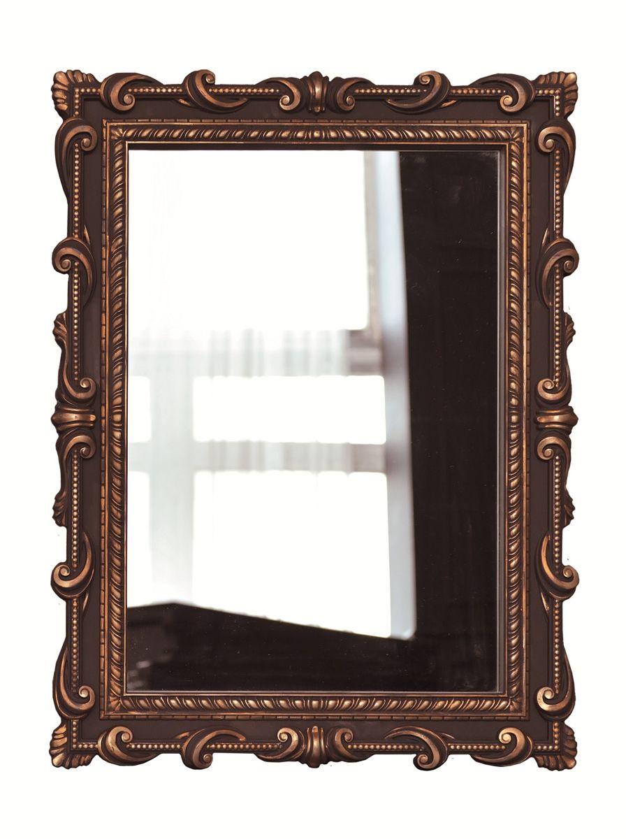 Зеркало VezzoLLi Тениа, цвет: коричневый, 94 х 72 см12-05С обратной стороны зеркало снабжено тремя металлическими подвесами для возможности разместить его и вертикально и горизонтально.