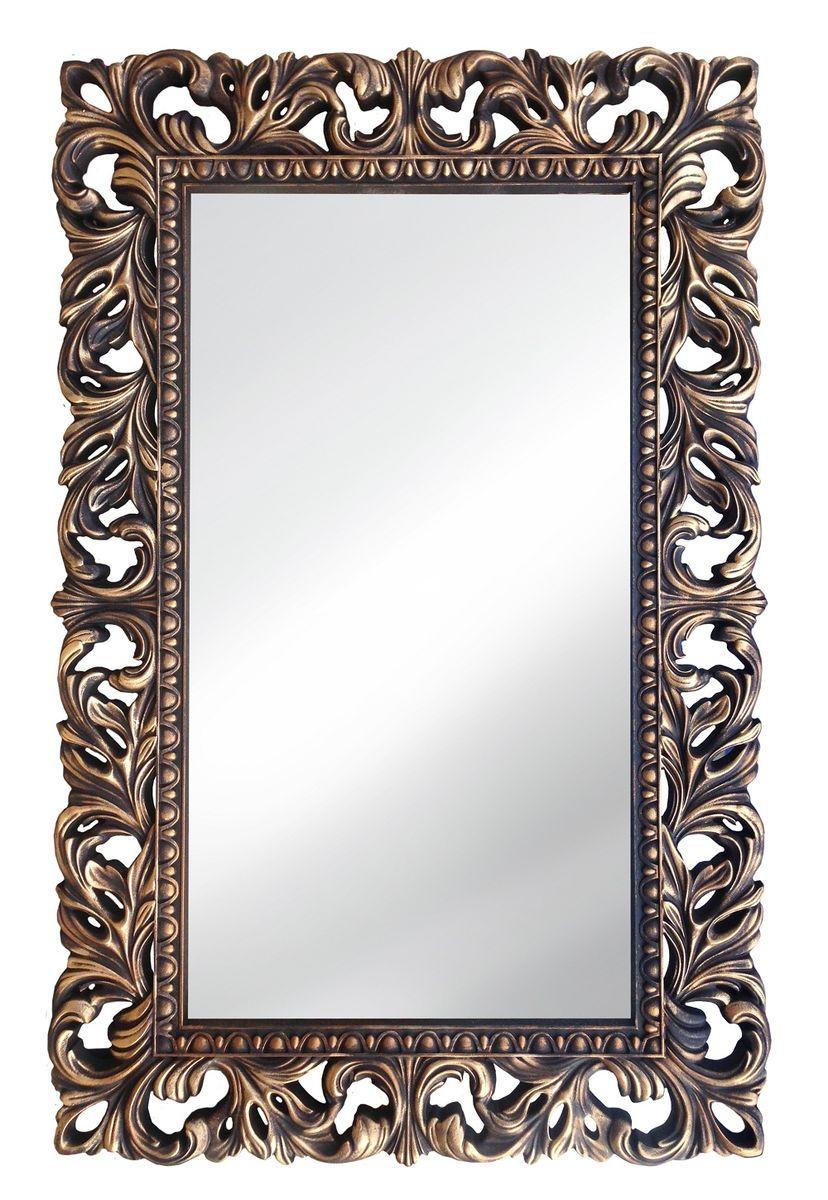 Зеркало VezzoLLi Италиа, цвет: коричневый, 115 х 75 см16-05С обратной стороны зеркало снабжено тремя металлическими подвесами для возможности разместить его и вертикально и горизонтально.