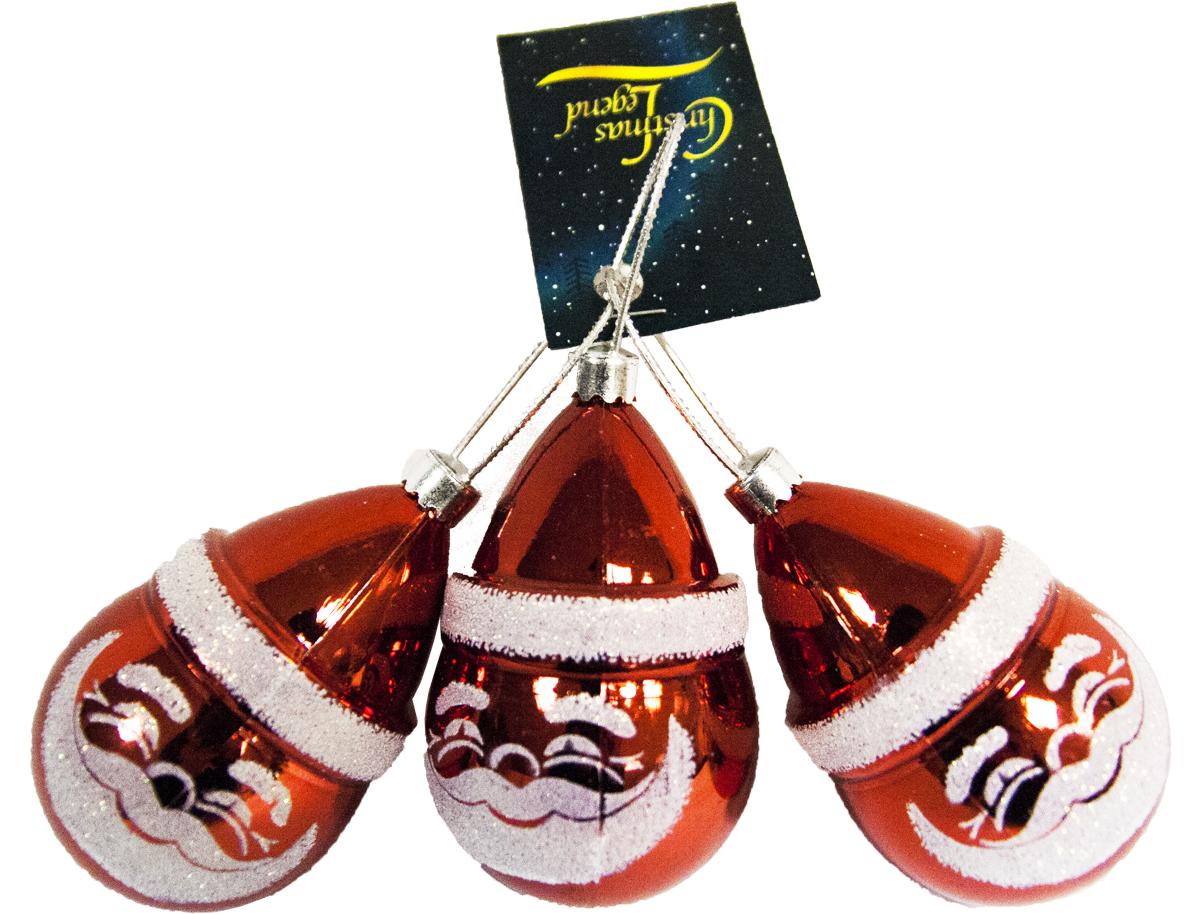 Украшение подвесное Weiste Дед Мороз, цвет: красный, 3 шт72930Украшение подвесное 3 шт Дед мороз 70 мм, цвет: красный Weiste