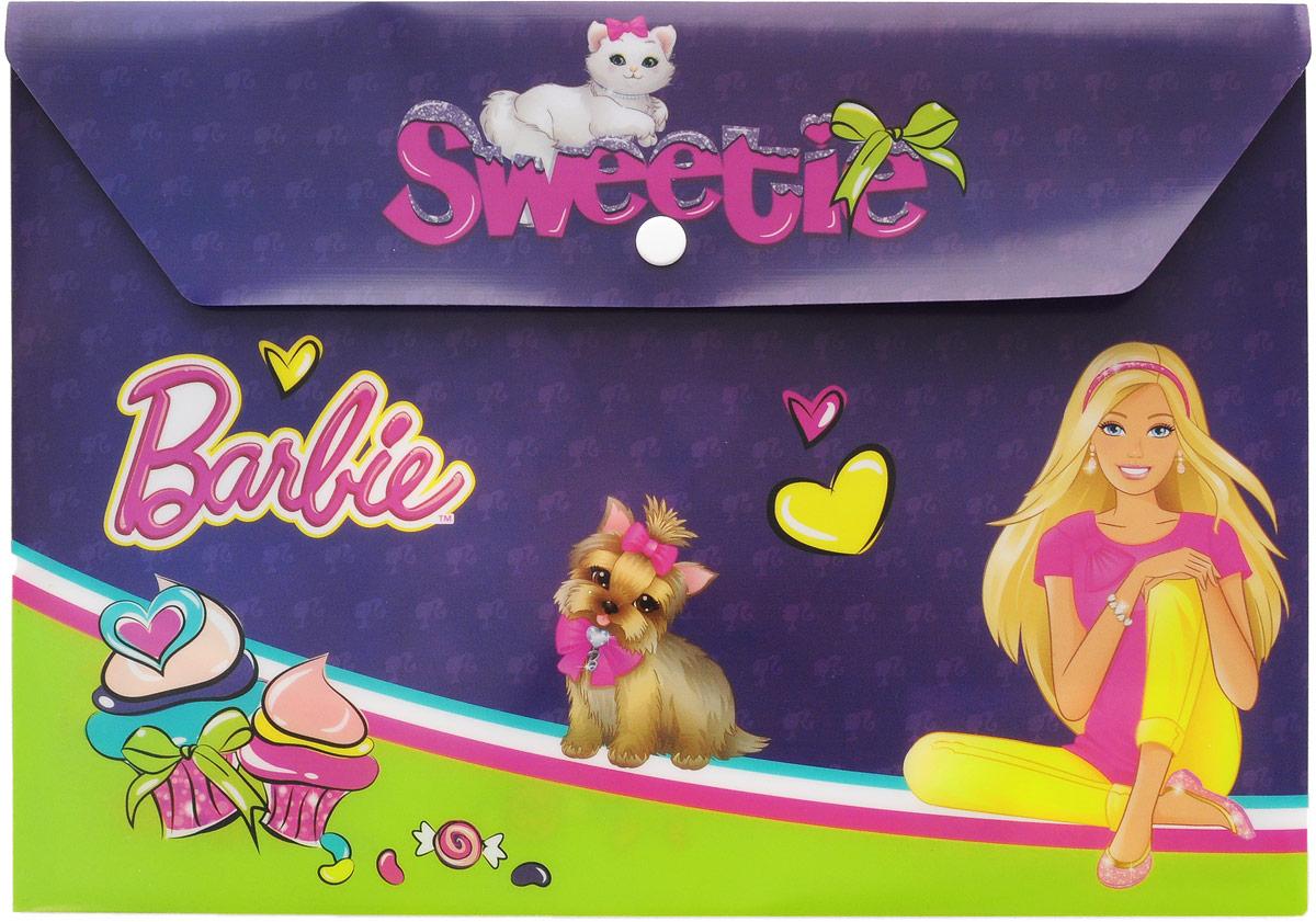 Barbie Папка-конверт Sweetie на кнопке цвет фиолетовыйBRCB-US1-PLB-EN15Папка-конверт на кнопке Barbie Sweetie - это удобный и функциональный школьный инструмент, предназначенный для хранения и транспортировки рабочих бумаг и документов формата А4. Папка изготовлена из прочного полипропилена, закрывается клапаном на кнопку. Папка-конверт - это незаменимый атрибут для студента, школьника, офисного работника. Такая папка надежно сохранит ваши документы и сбережет их от повреждений, пыли и влаги.