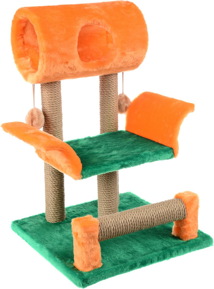 Когтеточка ЗооМарк Васька, цвет: салатовый, оранжевый, 71 х 45 х 53 см144_салатовый, оранжевыйКогтеточка Васька поможет сохранить мебель и ковры в доме от когтей вашего любимца, стремящегося удовлетворить свою естественную потребность точить когти. Когтеточка изготовлена из дерева, искусственного меха и джута. Товар продуман в мельчайших деталях и, несомненно, понравится вашей кошке. Сверху имеется несколько висячих игрушек, которые привлекут питомца. Всем кошкам необходимо стачивать когти. Когтеточка - один из самых необходимых аксессуаров для кошки. Для приучения к когтеточке можно натереть ее сухой валерьянкой или кошачьей мятой. Когтеточка поможет вашему любимцу стачивать когти и при этом не портить вашу мебель. Диаметр домика: 20 см Длина полки: 33 см Размер когтеточки: 71 см х 45 см х 53 см