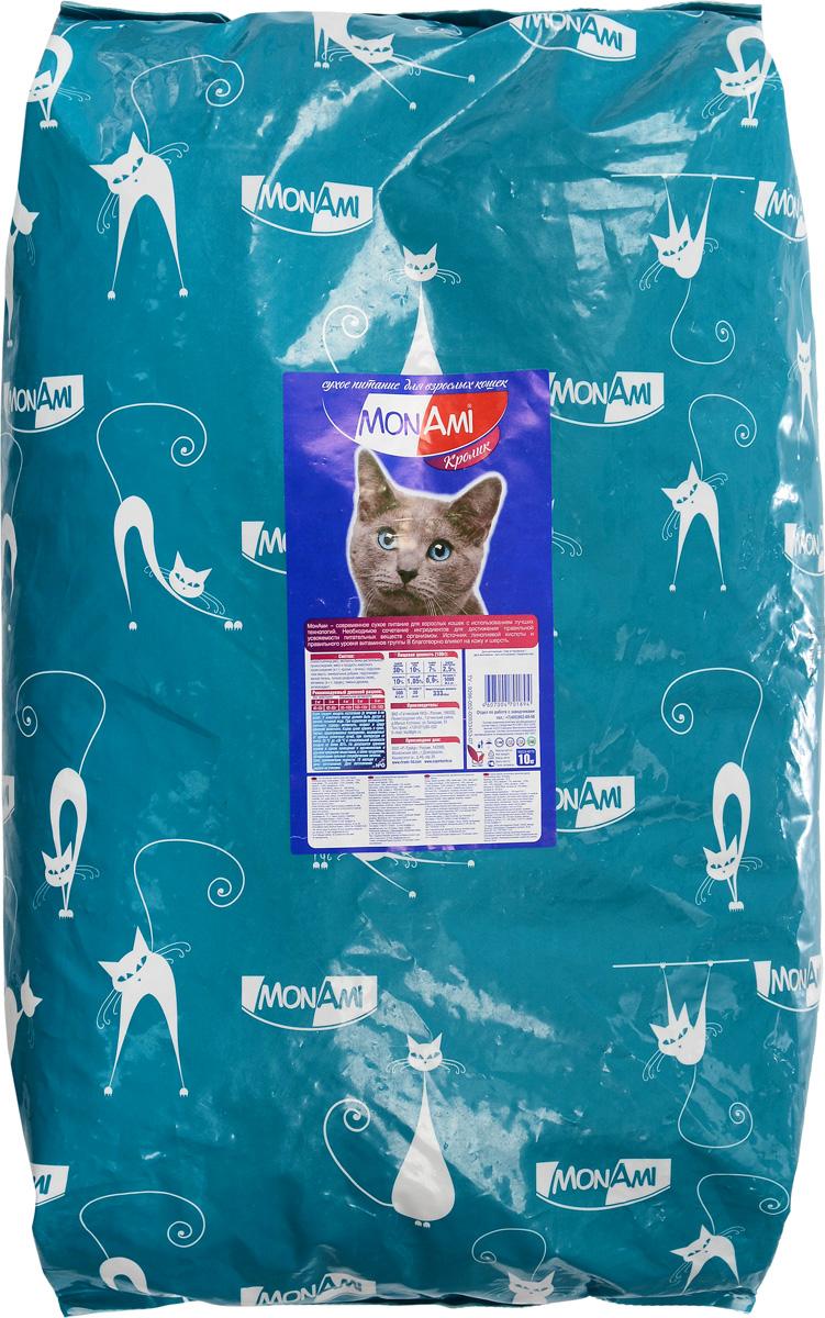 Корм сухой для кошек MonAmi, с кроликом, 10 кг03446Сухой корм MonAmi - современное сухое питание для кошек с использованием лучших технологий. Корм содержит необходимое сочетание ингредиентов для достижения правильной усвояемости питательных веществ организмом. Источник линолевой кислоты и правильного уровня витаминов группы В благотворно влияют на кожу и шерсть, а таурин поддерживает здоровье глаз и сердца вашего питомца. Пищевая ценность (100 г): сырой протеин 30%, сырой жир 10%, сырая зола 7%, сырая клетчатка 2,5%, влажность 10%, кальций 1,05%, фосфор 0,9%, витамин А 5000 МЕ/кг, витамин D3 500 МЕ/кг, Витамин Е 30 мг/кг. Энергетическая ценность: 333 кКал. Товар сертифицирован.