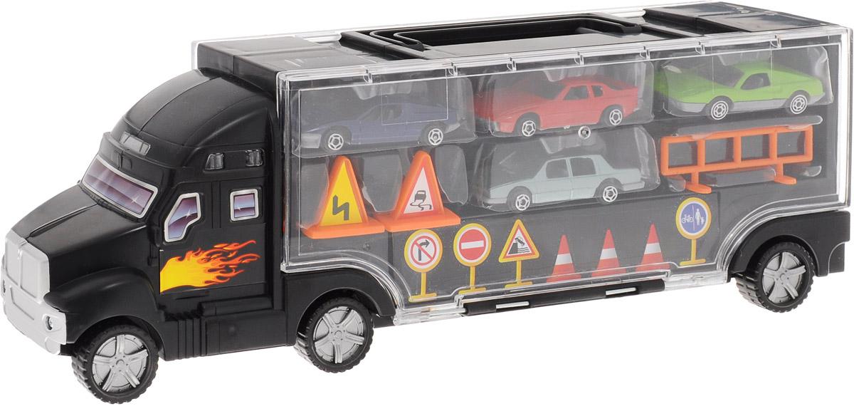 Boley Игровой набор Автовоз с машинками31248AИгровой набор Boley Автовоз с машинками включает в себя большой автовоз, 4 машинки, 2 дорожных знака и ограждение. Кузов автовоза представляет собой двусторонний чемоданчик с пластиковыми крышками и ручкой для переноски. В кузове-чемоданчике очень удобно хранить машинки, а также дополнительные аксессуары для игр. Кузов вмещает до 12 машинок. Автовоз выполнен из пластика, корпуса машинок - из металла с пластиковыми элементами. Колеса автовоза и машинок свободно вращаются. Сделайте вашему ребенку такой замечательный подарок!