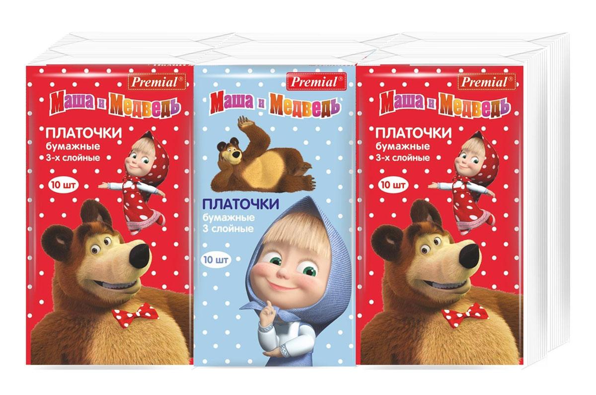 Premial Бумажные платочки Маша и Медведь 6 х 10 шт