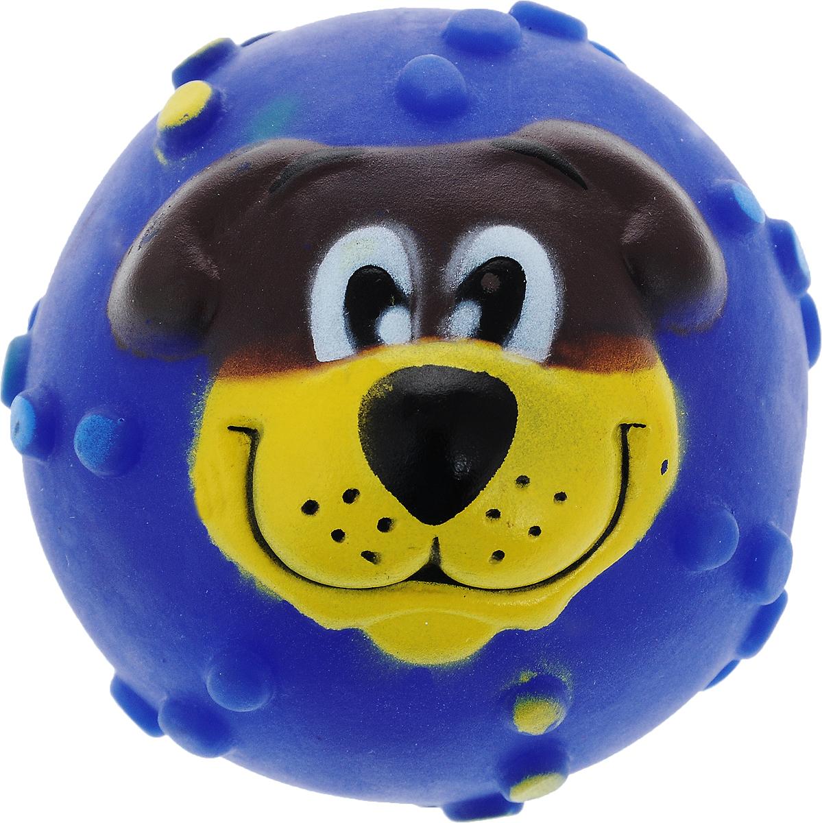 Игрушка для собак Каскад Мячик с мордочкой, с пищалкой, цвет: синий, диаметр 7 см27799273_синийИгрушка Каскад Мячик с мордочкой изготовлена из прочной и долговечной резины, устойчивой к разгрызанию. Необычная и забавная игрушка прекрасно подойдет для собак, любящих игрушки с пищалками. Такая игрушка порадует вашего любимца, а вам доставит массу приятных эмоций, ведь наблюдать за игрой всегда интересно и приятно. Диаметр: 7 см.