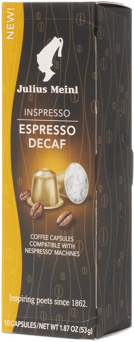 Julius Meinl Эспрессо Декаф кофе в капсулах без кофеина, 10 шт84592Кофе в капсулах без кофеина Julius Meinl Эспрессо Декаф обладает интенсивным вкусом и мягким послевкусием. Подходит для кофемашин Nespresso. Первый сорт. В упаковке 10 капсул по 5,3 грамма.