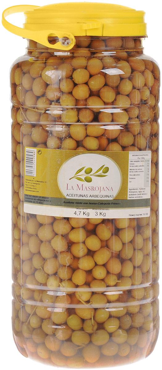 La Masrojana оливки зеленые с косточкой сорта Арбекина, 4,7 кг8420642000589Оливки зеленые с косточкой La Masrojana сорта Арбекина идеальны как закуска в средиземноморском стиле и в салаты. Эти оливки используют также при тушении мяса и овощей для придания аромата. Также их можно употреблять вместе с отварными овощами. Из-за своего небольшого размера эти оливки собирают вручную, но они содержат большое количество масла. Вес сухого продукта - 3 кг. Компания La Masrojana - семейное предприятие из Террагоны (Испания).