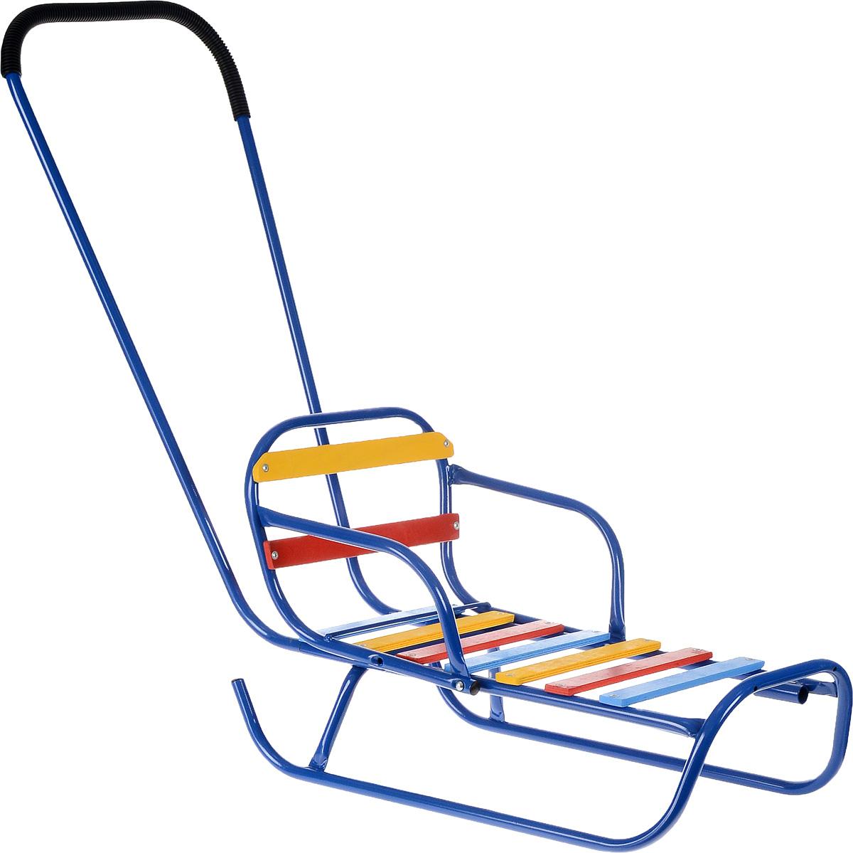 Санки-трансформер, со съемным толкателем и спинкой, цвет: синий. З-1145.08