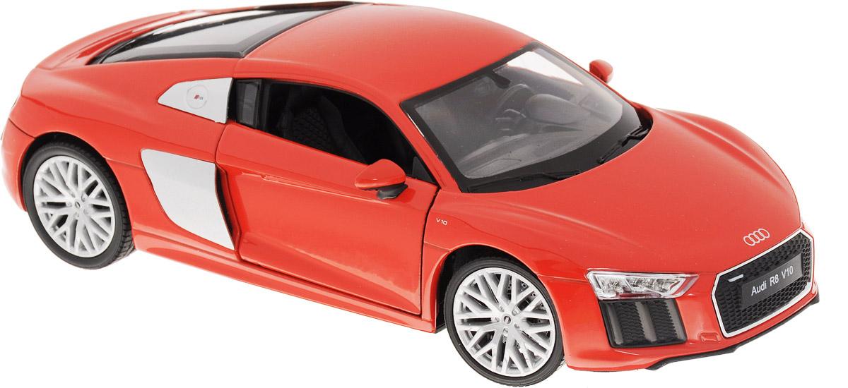 Welly Модель автомобиля Audi R8 V10 цвет красный24065Модель автомобиля Welly Audi R8 V10 - отличный подарок как ребенку, так и взрослому коллекционеру. Благодаря броской внешности, а также великолепной точности, с которой создатели этой модели масштабом 1:24 передали внешний вид настоящего автомобиля, модель станет подлинным украшением любой коллекции авто. Машина будет долго служить своему владельцу благодаря металлическому корпусу с элементами из пластика. Дверцы машины открываются, резиновые шины обеспечивают отличное сцепление с любой поверхностью пола. Такая модель станет замечательным подарком не только любителю автомобилей, но и человеку, ценящему оригинальность и изысканность, а качество исполнения представит такой подарок в самом лучшем свете.